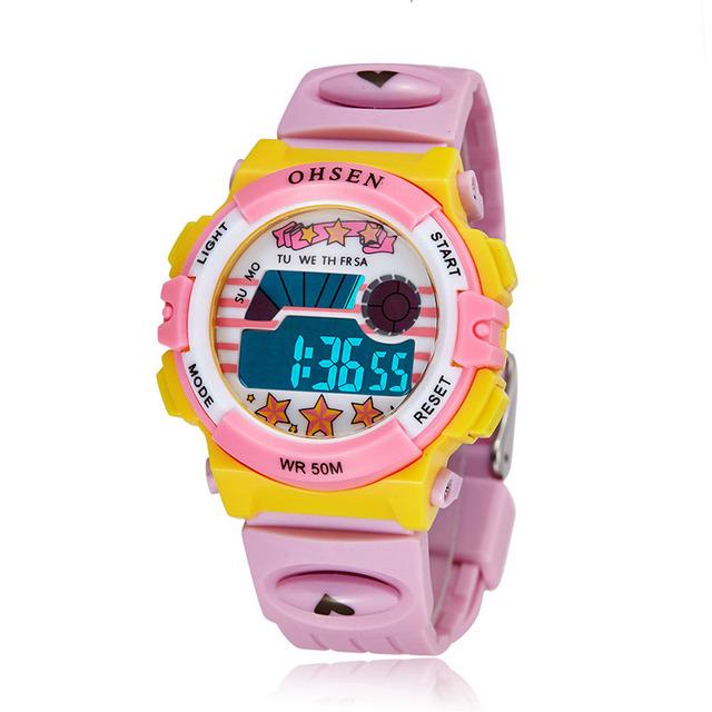Розовые Дети Спортивные Часы СВЕТОДИОДНЫЙ Цифровой Кварцевые Часы Водонепроницаемые Наручные Часы Relógio женственность 1603-2PINK