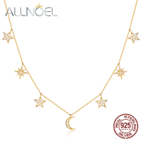 ALLNOEL 2019 Real 925 Sterling Silver Necklace For Women Starry Moon Charms Gold Plated AAA Zircon Diamond Fine Jewelry Chains