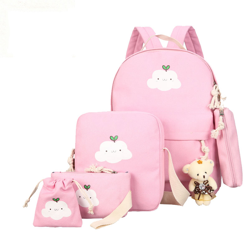 2019 New Canvas School Bag Clouds Printing Women Backpack High Quality School Bags For Teenage Girls Cute Bookbags Mochila 5 Set