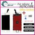 1 шт./лот Нет Dead Pixel для IPHONE 5 5S 5C ЖК-ассамблея Замена Дисплея Сенсорного Экрана Digitizer для iphone 5g LCD белый/Черный