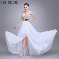Julie Vino 2014 Fashion Wedding Dresses Gown Featuring Beaded Bodice With Plunging V Neck High Slit
