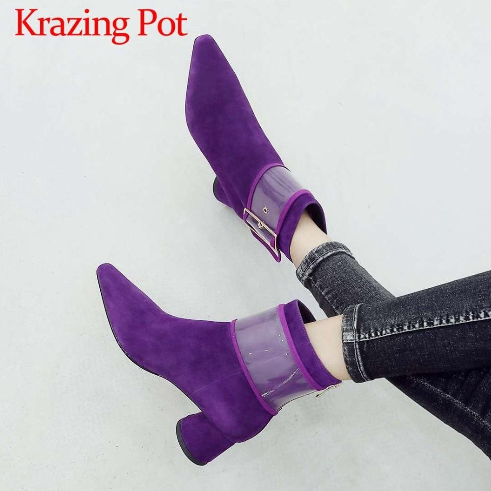 Elegant lady luxury british style kid suede fashion pvc buckle belt design med heels square toe med heels zipper ankle boots L19 leaf design buckle belt