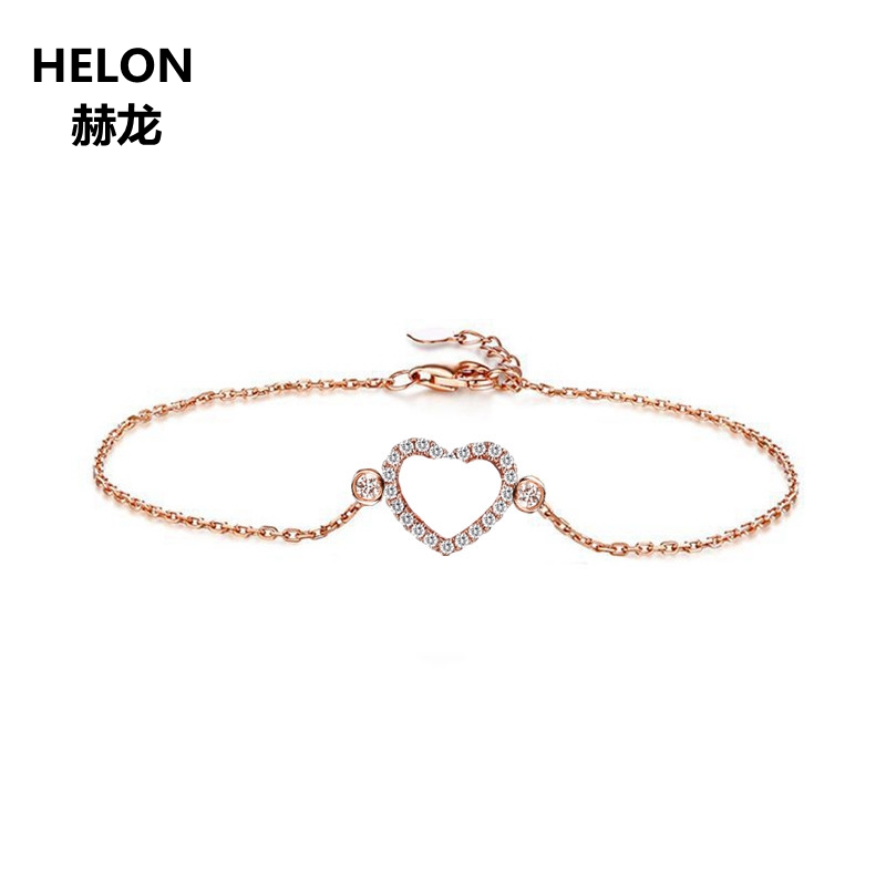0.22ct SI/H Natural Diamonds Women Bracelet Solid 18K Rose Gold Engagement Wedding Chain Bracelet Fine Jewelry Unique