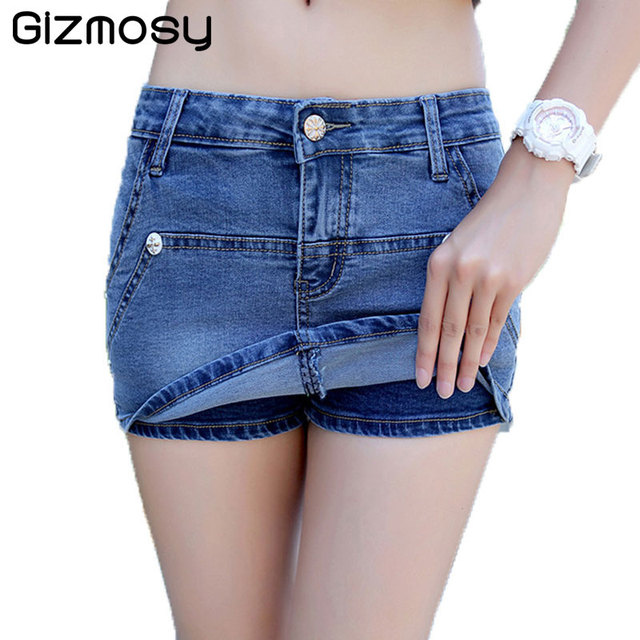 dd3896b0c1d S-3XL Denim Shorts For Women 2018 Summer Zipper Sexy Woman Mini Jean Shorts  Skirt Plus Size Blue Casual Fake two pieces BN2612