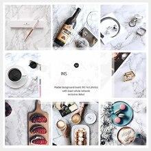 Ins textura de mármore reutilizável dupla face papel fotos estúdio acessórios para alimentos cosméticos decorações fotografia fundo