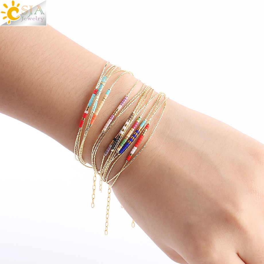 CSJA Pulseras Miyuki Bracelets for Women 2-layer Cute Mini Delica Beads Bracelet Jewelry Adjustable Gold Color Link Chain S187