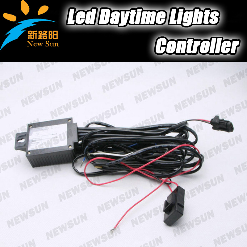 LED Daytime Running Light (DRL) Automatic Control On/Off Switch Relay Harness Headlamp Side Light Controller led daytime running light drl relay harness automatic on off control box fog lamp cable 2pcs