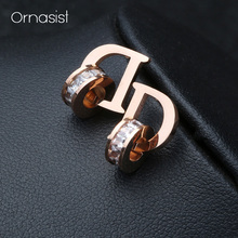 New Shiny Crystal Circle Stud Earrings Titanium Steel Rose Gold Letter D Engagement Wedding Earring
