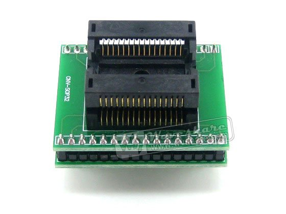 module SO32 SOIC32 SOP32 TO DIP32 (A) 652D032221X Wells IC Programming Adapter Test Burn-in Socket 1.27mm Pitch 7.55mm Width sop8 to dip8 programming adapter socket module black green 150mil
