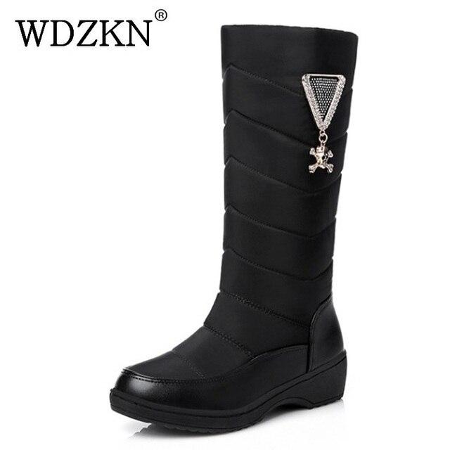 6cdfaba3b94 WDZKN 2018 Wedge Winter Boots Women Waterproof Thick Plush Warm Snow Boots  Slip On Mid Calf Rhinestones Women Winter Shoes