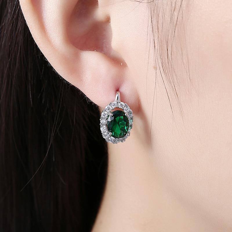 Women Earrings Dazzling Big Round Green White CZ Zircon Drop Earring Wedding Jewelry in Drop Earrings from Jewelry Accessories
