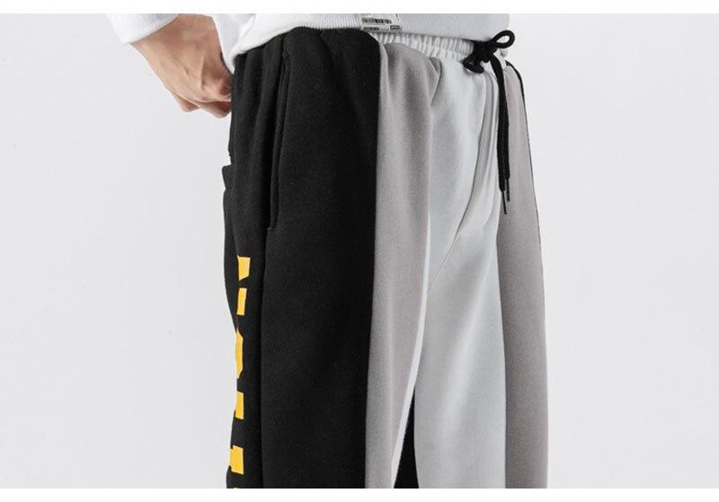 Aolamegs Men Casual Track Pants Splice Contrast Pants Men Letter Print Elastic Waist Sweatpants Men High Street Pants Streetwear (10)
