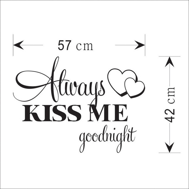 """Always Kiss Me Goodnight"" Home Decor Wall Sticker Decal Bedroom Vinyl Art Mural  Drop Shipping De4 5"