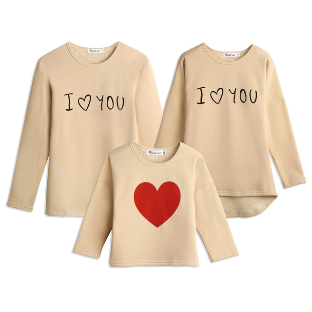 winter family matching clothes father mother and son daughter thick fleece o-neck long sleeve printed hoodies children warm tops
