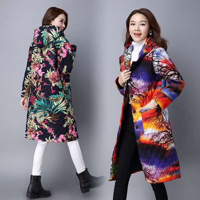 Autumn Winter New Chinese Style Woman s Hooded Coats Thicker Paragraph  Long-sleeved Cotton Linen Womens 4a55c3f520fc
