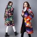 Outono Inverno Novo Estilo Chinês Parágrafo Mais Grosso Longo-manga da Mulher Com Capuz Casacos Jaqueta Feminina Outwear Das Mulheres de Linho de Algodão