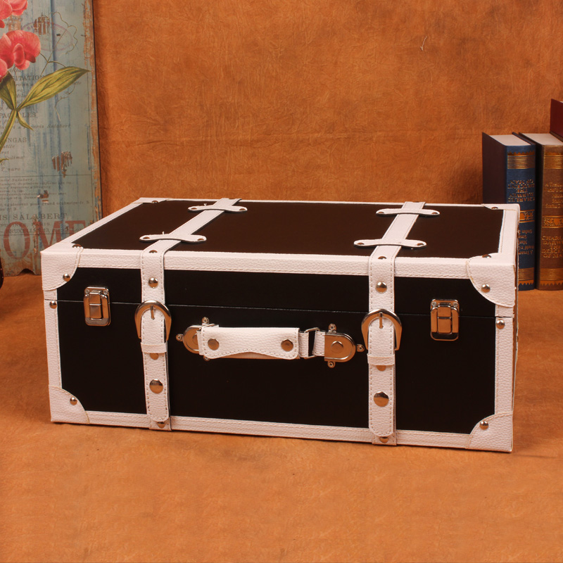 Retro Wooden Suit Box Clothes Storage Box Luggage Case Furnishings Decorations Vintage Bar Photography Props Window
