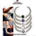 Fashion Brand Bracelet Jewelry Silver Chain Gem Charm Bracelet  For Female Charming Women Simple Bracelets