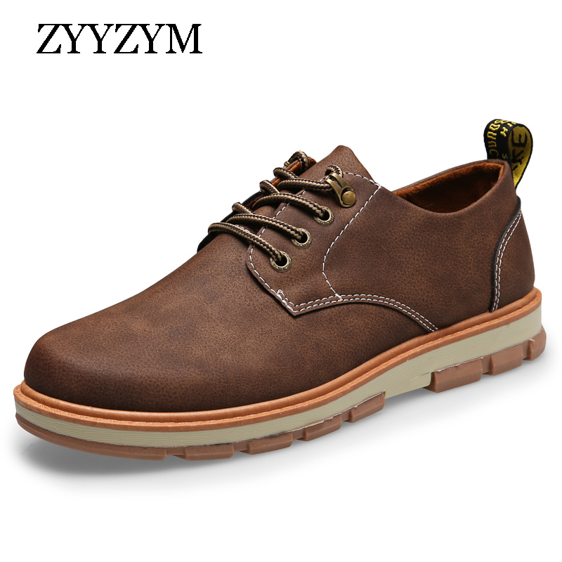 ZYYZYM Man Casual Shoes Spring Autumn Lace-up Style Big leather Shoes Flat Fashion Trend Round Toe Men Frock Shoe 2018 Hot Sale hot sale men s shoes casual shoes for men winter autumn low top patchwork canvas fashion lace up mens classic casual shoes