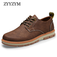 ZYYZYM Man Casual Shoes Spring Autumn Lace-up Style Big leather Shoes Flat Fashion Trend Round Toe Men Frock Shoe 2017 Hot Sale