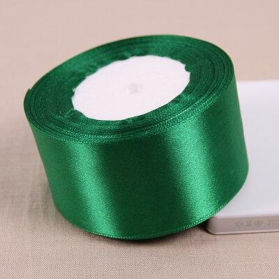 25 метров/рулон 50 мм 2 дюймов темно-зеленый атлас Ленты для свадьбы Аксессуары оптовая продажа подарочной упаковки ленты