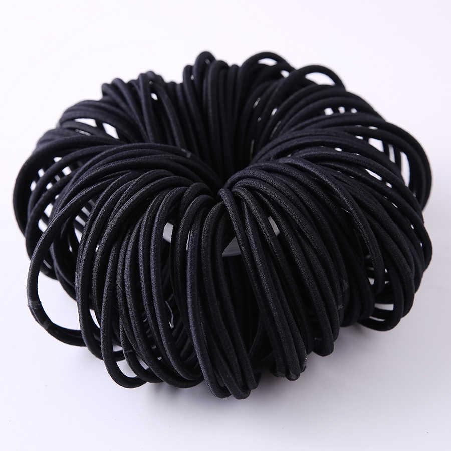 100 шт./лот черный Цвет веревка Упругие волосы связей девушки аксессуары для волос эластичной резинкой ленты для волос для женщин