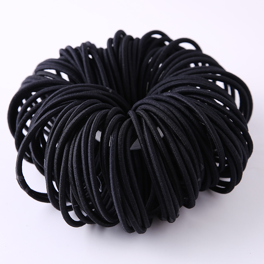 100pcs Lot Black Color Rope Elastic Hair Ties Girl S Hair