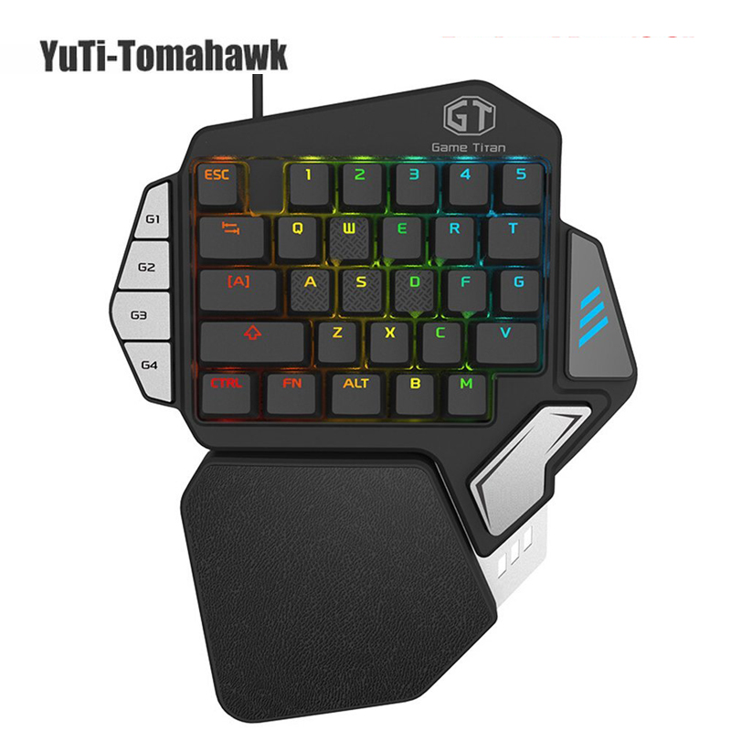 Delux T9X Single-handed Mechanical Gaming Keypad fully programmable USB wired keyboards with RGB backlight for PUBG LOL E-Sports delux t9 plus professional one single hand usb wired gaming mechanical keyboard with rgb led backlit backlight keyboards for lol