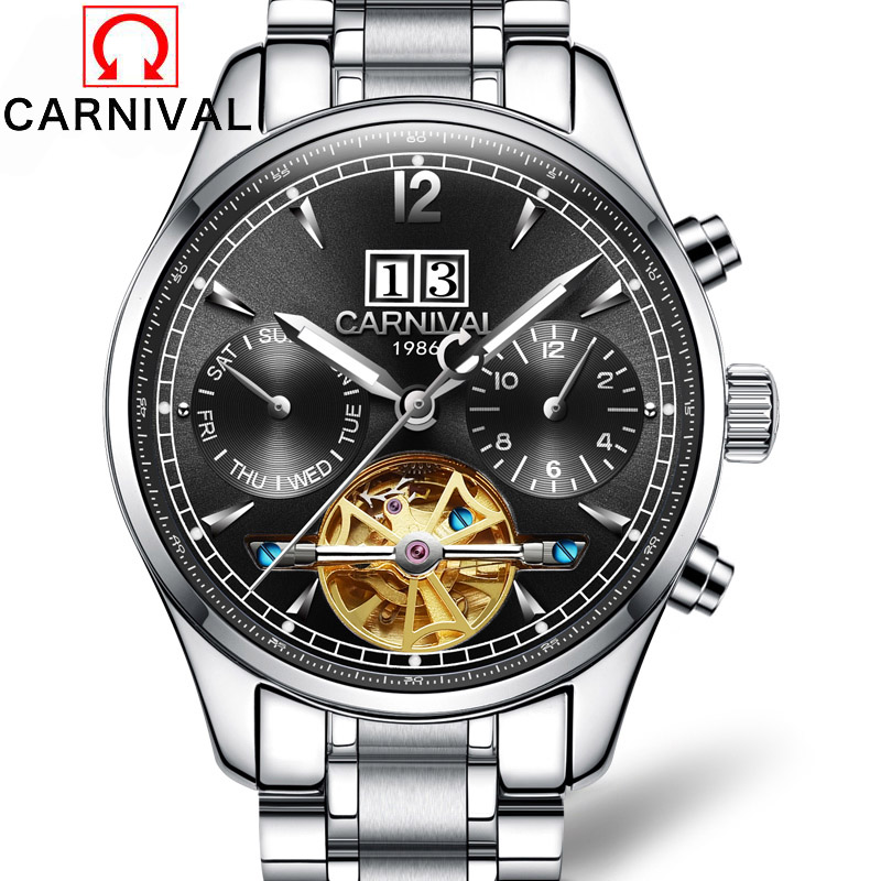 Carnival Luxury Brand Tourbillon Mechanical Watches Top Quality Full Steel Strap Men Watch Saphire waterproof Automatic Clock top luxury brand men watches automatic double tourbillon mechanical wristwatch stainless steel strap blue dial binger b 8606a