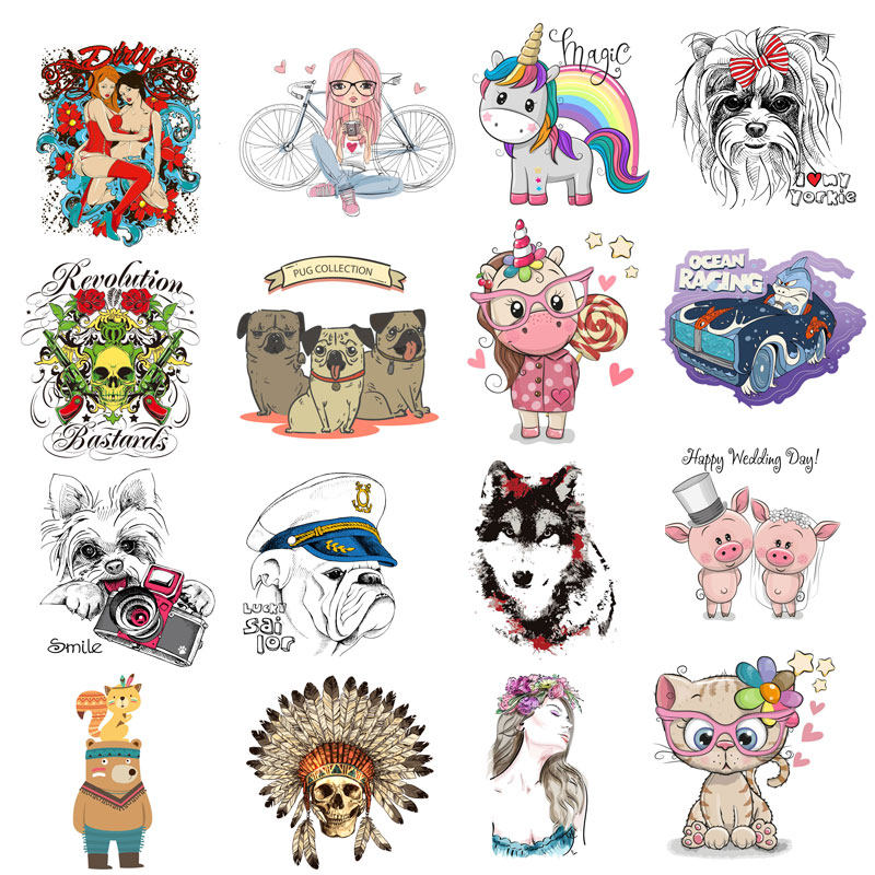ZOTOONE Cartoon animal heat transfer patch iron skull unicorn dog vinyl T-shirt sticker hot press D