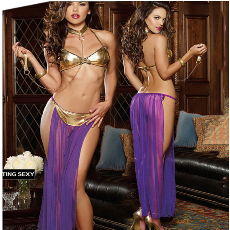 Free shipping Adult Women <font><b>Sexy</b></font> Star Wars Princess Leia Slave Costume Bikini Fancy Dress Cosplay <font><b>Halloween</b></font> Costumes for lady image