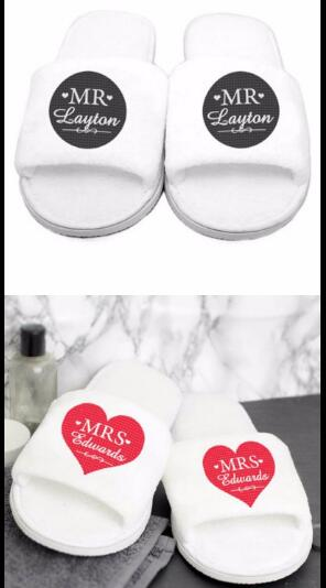 Personalisierte hochzeit mr mrs braut br utigam hausschuhe for Mr and mrs spa