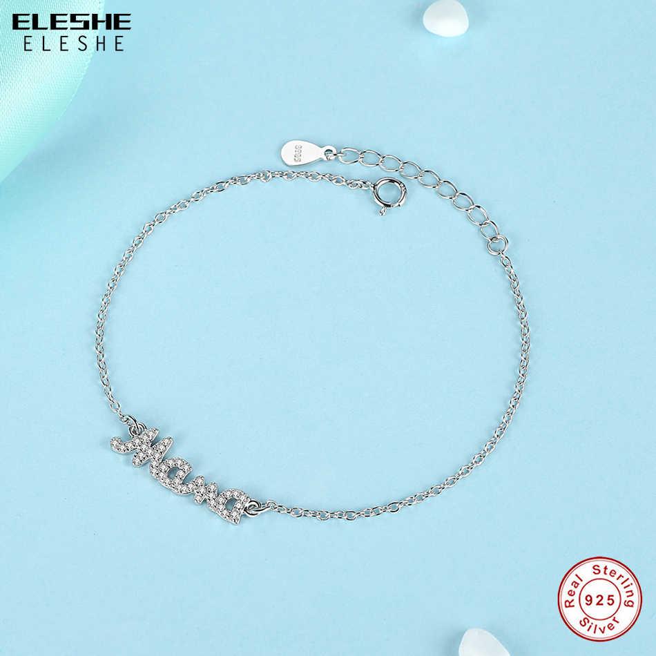 ELESHE 2019 nowa biżuteria prawdziwe 925 srebro kryształ matka Mama Mama Charm bransoletki dla kobiet dzień matki prezent