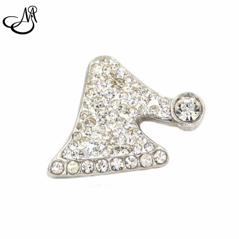 Snap Button Charm White Rhinestone Christmas Hat Holiday Snap Ginger Charms Interchangeable Jewelry SB047
