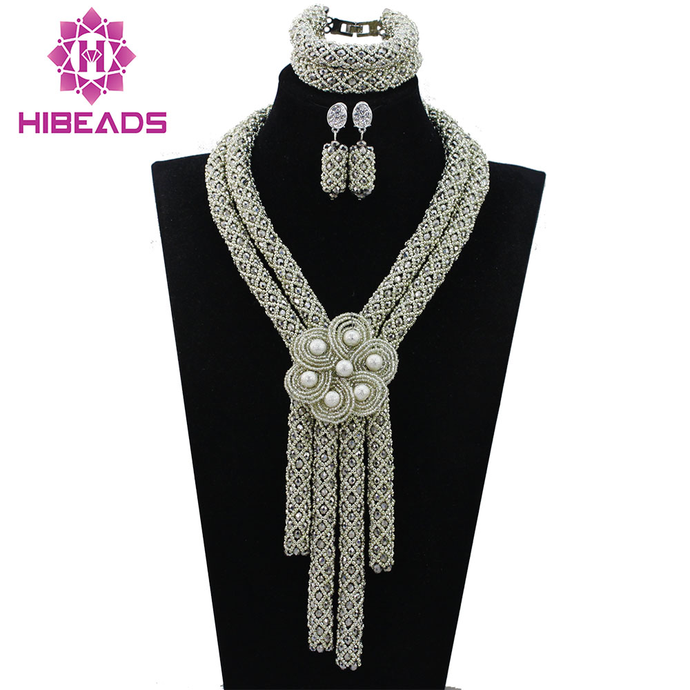 Silver African Beads Jewelry Set Flower Brooch Nigerian Necklace Set 2017 Anniversary Gift Beads Free Shipping WD656Silver African Beads Jewelry Set Flower Brooch Nigerian Necklace Set 2017 Anniversary Gift Beads Free Shipping WD656