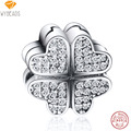 WYBEADS 925 Sterling Silver Clip Petals Love Clear CZ European Charm Beads Fit Bangle Bracelet Original Jewelry Making