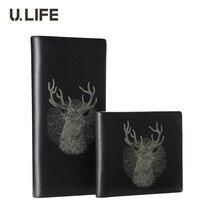 U.LIFE – Luxury Brand Designer Deer Totem Black Supreme Cowhide Genuine Leather Long & Horizontal Men's Wallet Male Purse J50