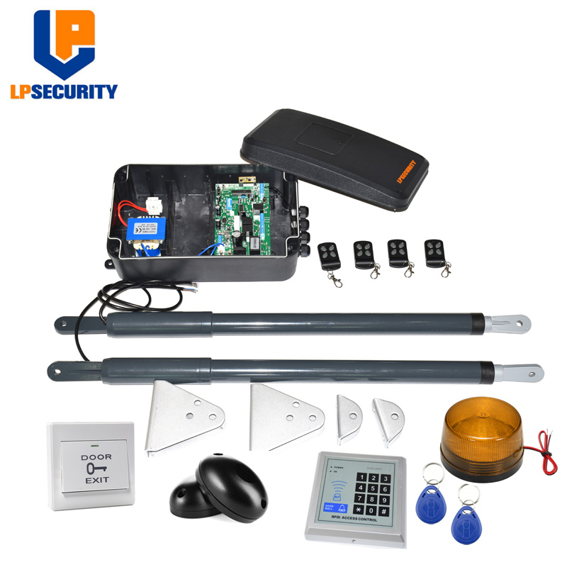 Image 3 - Free Shipping Waterproof Electric Linear Actuator Double arms swing gate motor con GSM photocells lamp button optionalswing door gatekeypad gateswing gate -