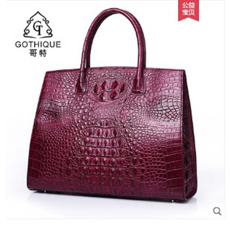 gete 2018 new Crocodile leather handbag imported from Thailand, fashionable European and American leather handbag, big bag, highgete 2018 new Crocodile leather handbag imported from Thailand, fashionable European and American leather handbag, big bag, high