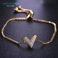 Mechosen zirconia copper letra v pulseiras para as mulheres do escritório estilo ol pulseira banhado a ouro de casamento festa de pulso jóias pulsera