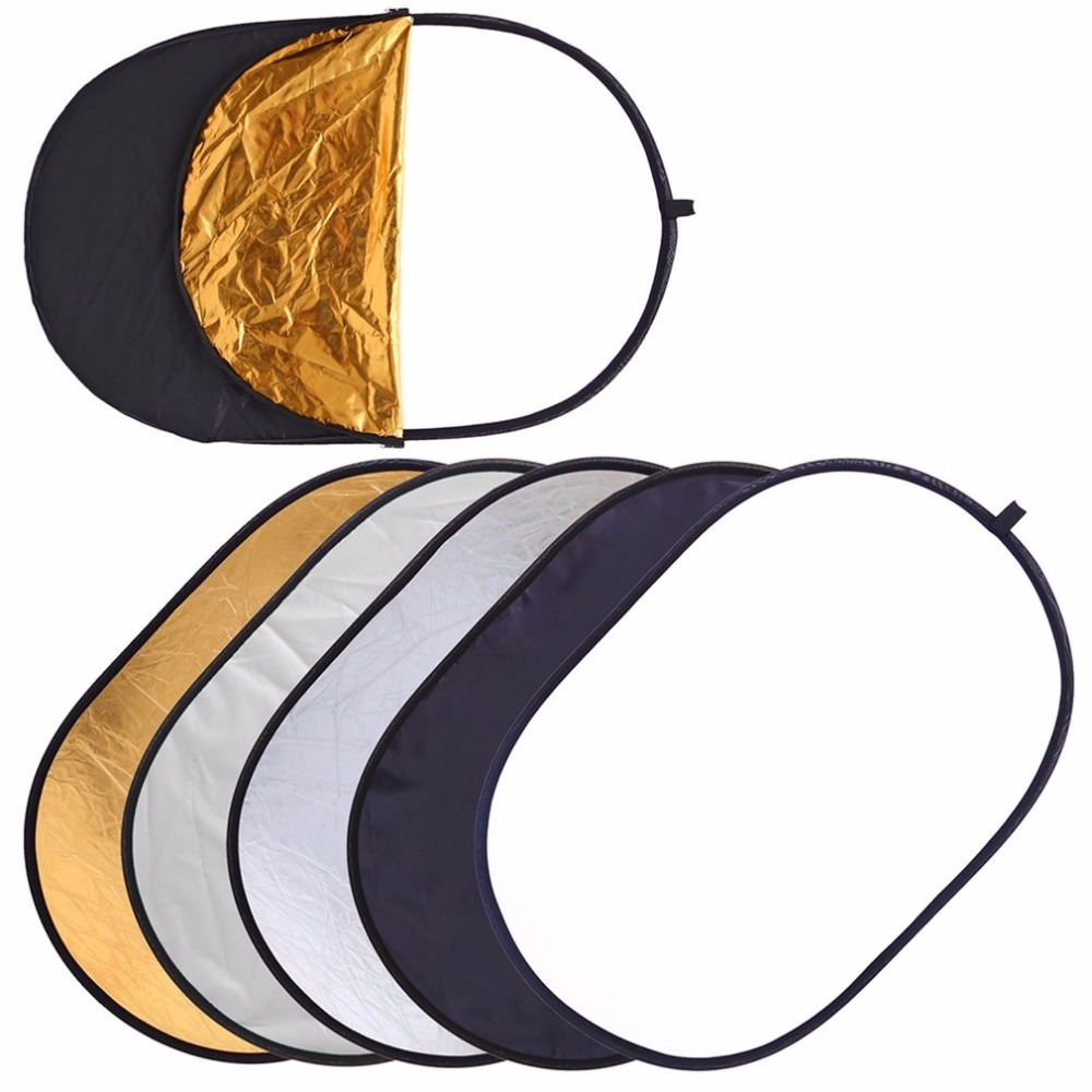 60x90cm 5 In 1 Oval Collapsible Light Reflector Multi Disc Photography Photo Studio Golden Silver White Black Transparent 30cm portable triangle shaped nylon dual side flash reflector board golden silver black