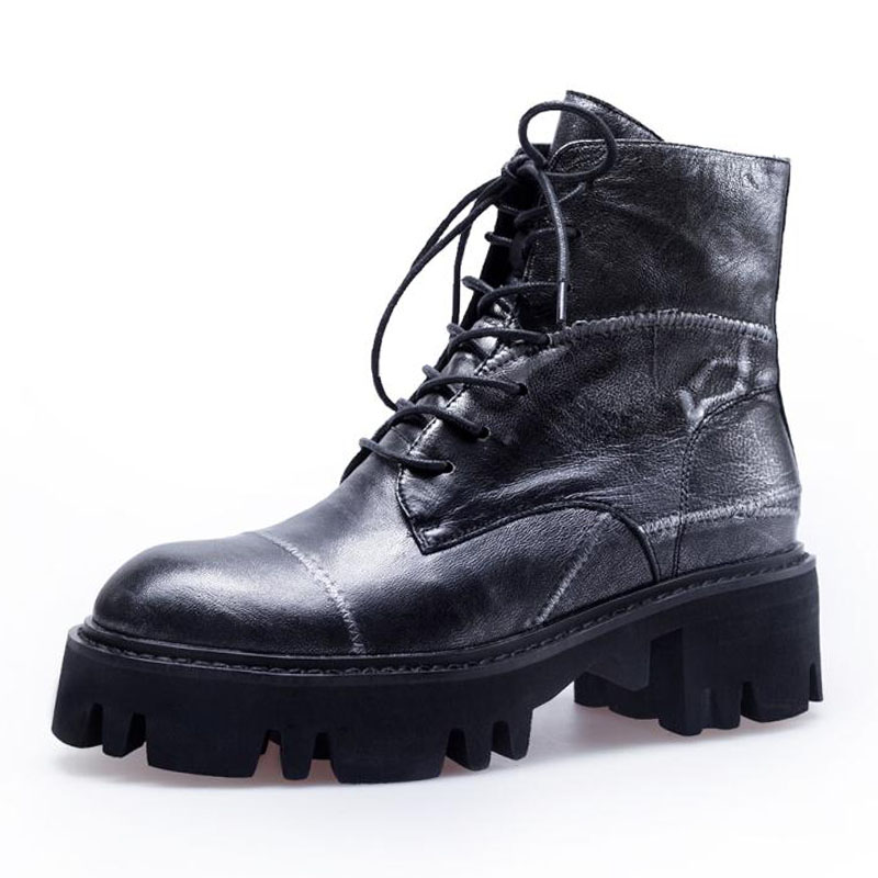 Qualité argent Gothique 3439 Razamaza De Lanières Femmes Véritable Plate Cheville Or À Haute Chaussures Cuir Bottes Talons forme Luxe Taille En SUqzMVp