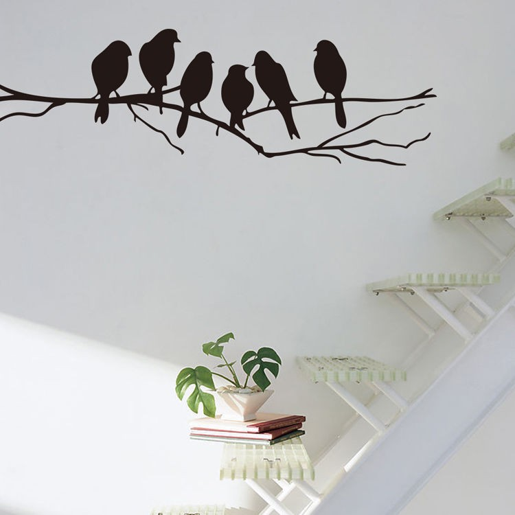 WANGZHIMING new cartoon DIY 3d wall stickers for kids rooms Hot Sale Birds on branch for wall stickers bedroom home decor living