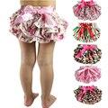 2017 Camadas Bebê Ruffle Bloomers Cover Tecido Recém-nascidos Shorts Flor Com Saias Bonitos Da Criança Verão Cetim Pants Free Ship Gota