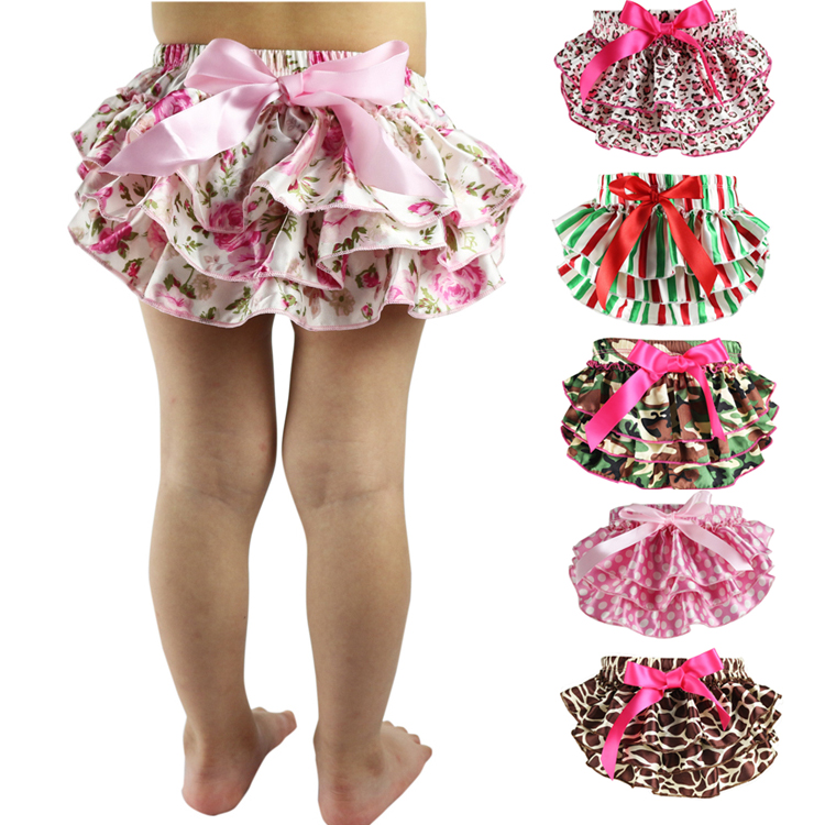 Baby Ruffle Bloomers Layers Diaper Cover Newborn Flower Shorts With Skirts Toddler Cute Summer Satin Pants Baby Tutu Shorts