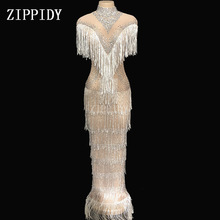 Sparkly Rhinestones White Fringes Mesh Dress Birthday Celebrate See Through Transparent Net Dress Costume Dance Dress YOUDU