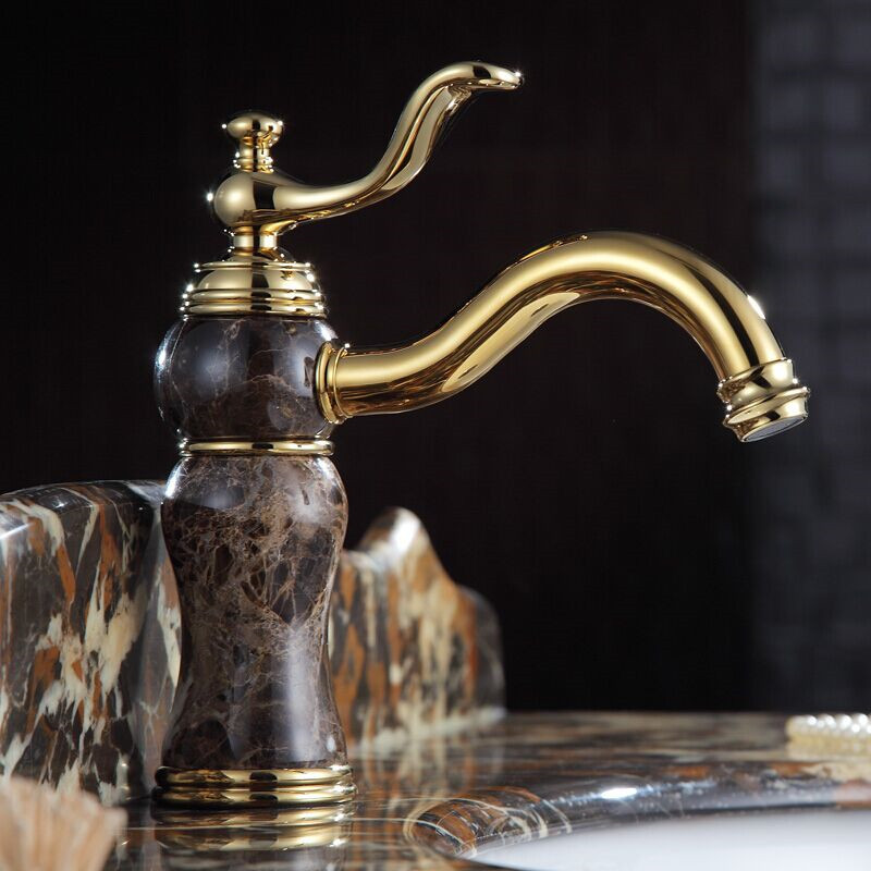 Free Shipping High End European Style Br Golden Bathroom Faucet Marble Basin Sink Mixer Water Taps Faucets Luxury In From Home