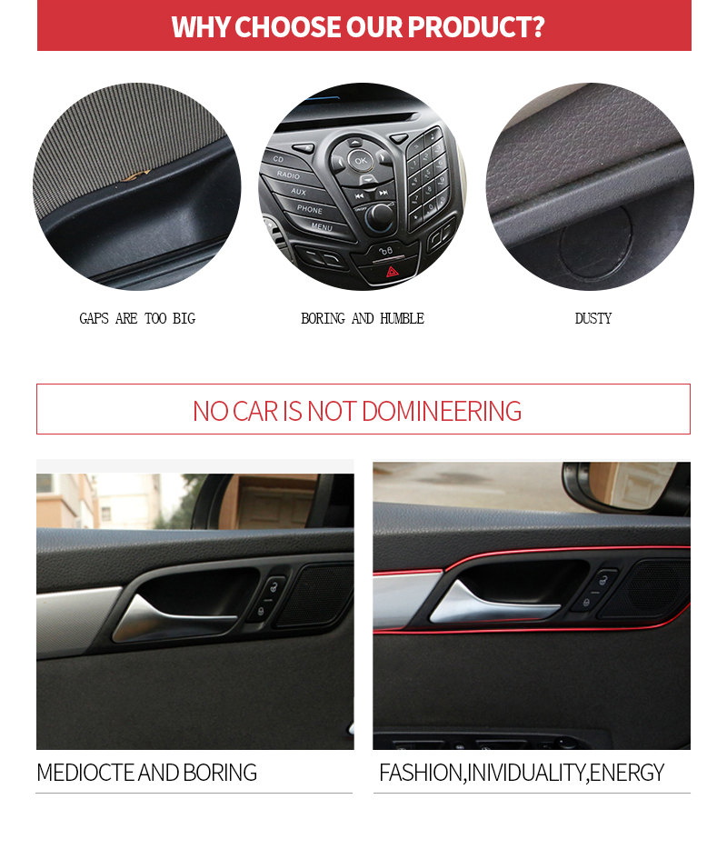 Image 4 - 5M/3M/1M Car Seal Accessories Styling Interior Exterior Decoration Door Strip Moulding Trim Dashboard Edge Universal Auto Chrome-in Interior Mouldings from Automobiles & Motorcycles