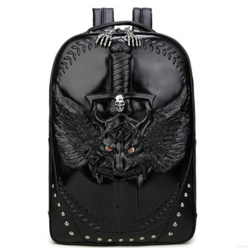 Steelsir 2018 New Arrival Fashion Animal Print Backpack Punk Tide Men Personality  Motorcycle 3D Print Fight The Wolf Backpack Steelsir 2018 New Arrival Fashion Animal Print Backpack Punk Tide Men Personality  Motorcycle 3D Print Fight The Wolf Backpack