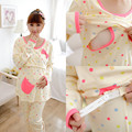 Dot Printed Cotton Nursing Pajamas for Maternity Mother Long Sleeve Breast Feeding Sleepwear Suits Women Breastfeeding Homewear
